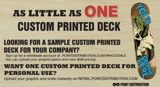 Now available, One Custom Printed Skateboard Deck